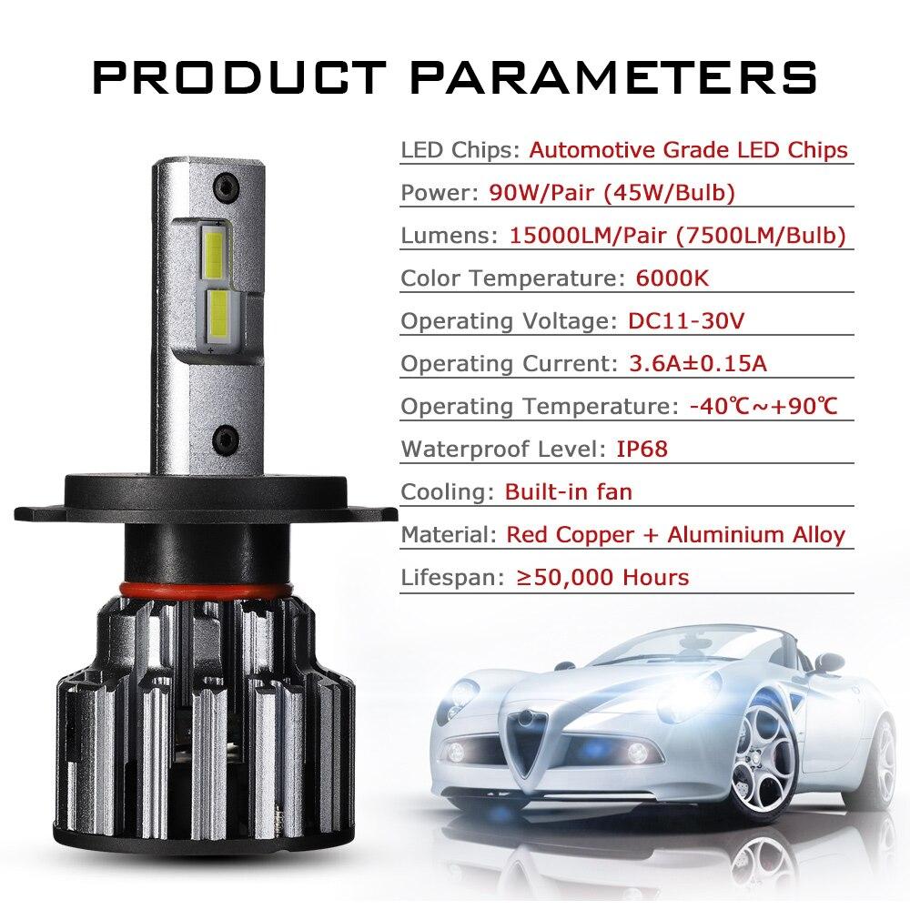 NOVSIGHT H7 LED H4 H11 9006 9005 Car Headlights Bulbs 90W 15000LM Decoder Automobile LED Headlamp Front Lights 6000K 12V 24V