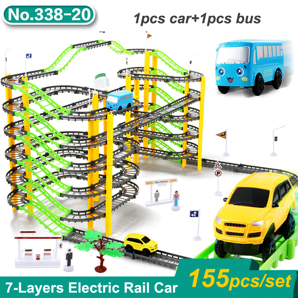 155pcs/set Magic Racing Track Set Assemble Railway Toy 7-Layers Electric Rail Car DIY Railway Racing Track Toys for Children