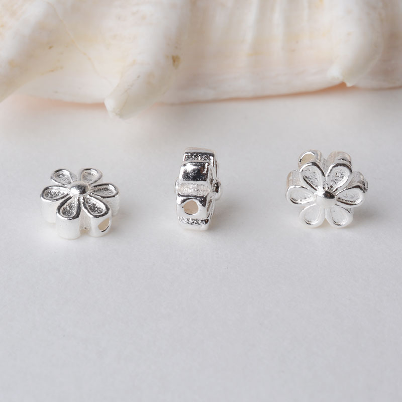 Solid 925 Sterling Silver Flower Charm Beads, Spacer Charm Beads For Necklace, Bracelet,earring Sterling Silver Jewelry
