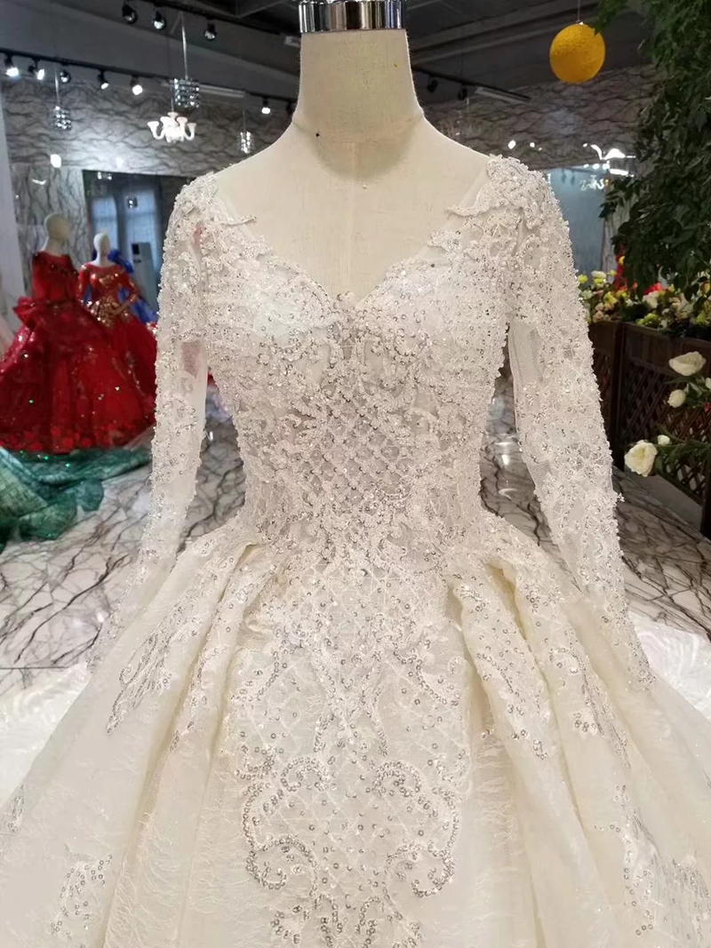 LSS486 high quality wedding dresses royal long train v-neck long sleeve shiny bride dress wedding gown 2019 new fashion design