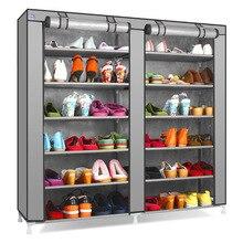 Actionclub Fileiras Duplas Grande Capacidade de Sapatos Rack Space Saver Não tecido Pano DIY Sapatos Organizador Prateleira No Corredor