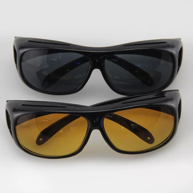 53a93a0c3c3 2Pcs HD Night Vision Wraparounds Wrap Around Glasses HD Vision Visor The  Day Night Visor For