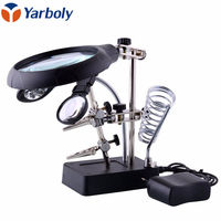 2 5X 7 5X 10X LED Light Magnifier Desk Lamp Helping Hand Repair Clamp Alligator Auxiliary