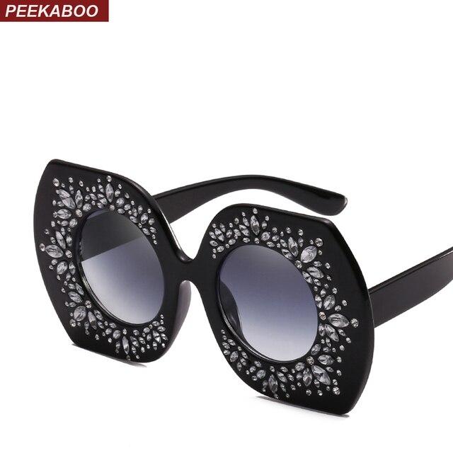 Coucou vintage hexagone lunettes de soleil femmes surdimensionné gradient  rouge bleu rose strass lunettes de soleil a45577f8eb6d