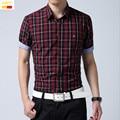 Szyid brand clothing men short sleeve shirt plaid turn down collar casual shirts turn down collar camisa masculina B0018