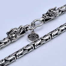 Real Pure 925 Sterling Silver Necklace Men Double Dragon Heads Vintage Handmade Clavicular Chain Necklace Male Fine Jewelry