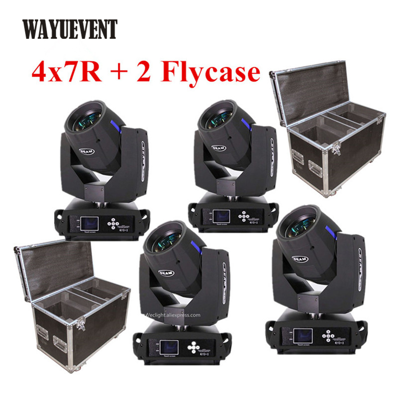 4pcs With Flight Case Sharpy Beam 230 Beam 7R Moving Head Light 16 Facet Prism Stage Lighting DJ Club Beam Wash Effect