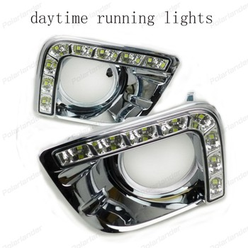 2 pcs Car styling 12V Car DRL LED Daytime Running Light For T/oyota P/rado 2013-2014 ABS Case