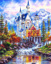 """DIY Painting By Number – Castle (16""""x20"""" / 40x50cm)"""