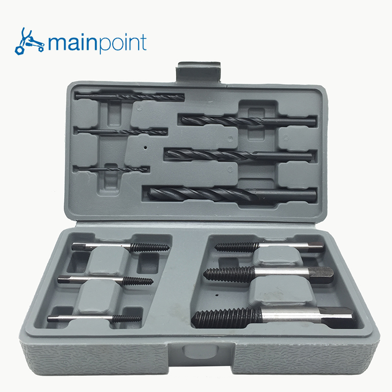 цена на Mainpoint High Hardness 12Pcs Steel Broken Damaged Nut Screw Extractor Drill Bit Guide Set  Broken Screws Bolt Remove tools