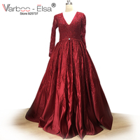VARBOO_ELSA Arabic Custom Made Prom Dress Red Satin V neck Beaded Evening Dress 2018 Sweep Train Formal Dresses vestido de festa