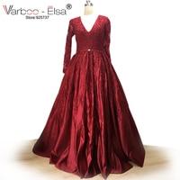 VARBOO_ELSA Arabic Custom Made Prom Dress Red Satin V neck Beaded Evening Dress 2018 Sweep Train Formal Dresses vestido de festa
