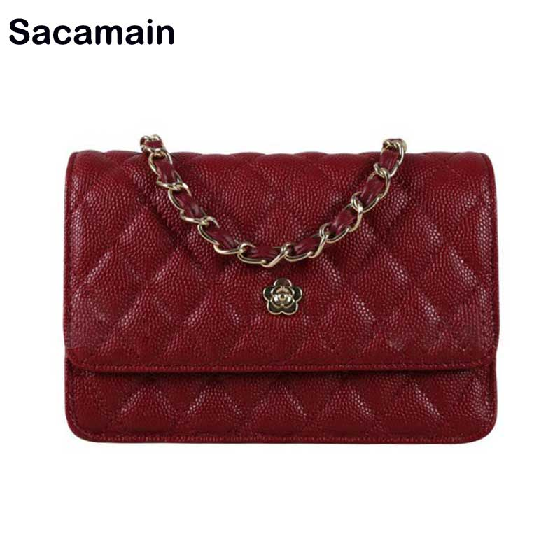 Detail Feedback Questions about Woc Caviar Leather Bag Fashion Card Holder  Purses Shoulder Messenger Crossbody Bags With Chain Mini Bags For Women  2018 ... 3549cbcbf46a3