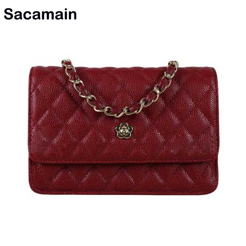 Woc Caviar sac en cuir mode porte-carte sacs à main épaule Messenger sacs à bandoulière avec chaîne Mini sacs pour femmes 2018 Bolsa