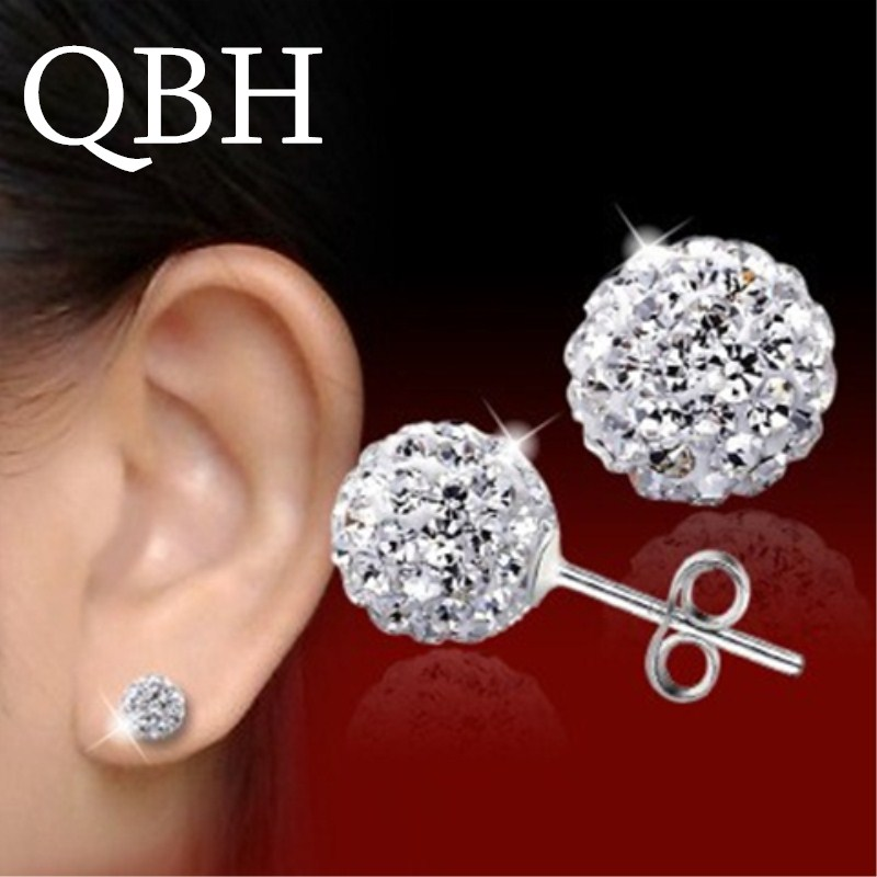 EK2023 New Fashion Crystal Ball Beads Silver Plated Stud Earrings for Women Jewelry Girl Party Gift Brincos Bijoux