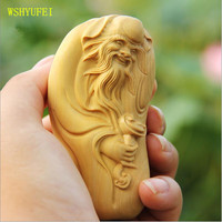 WSHYUFEI Solid wood leaflet boxwood carving hand piece to play carving Shouxing Buddha Statue Decoration car pendant crafts