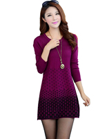 2016 New Autumn Winter Short Mini Knitted WOOL Sweater Dress Plus Size High Quality Warm Women