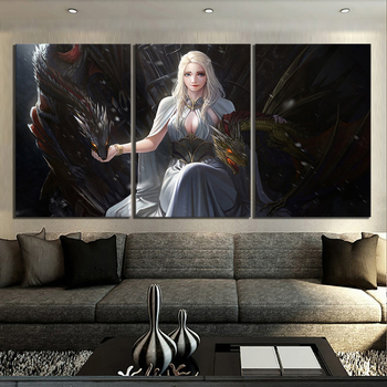 3 Piece A Song of Ice and Fire Poster Paintings Game of Thrones Daenerys Targaryen and Dragon Movie Poster Paintings Canvas Art