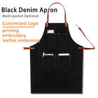 Kitchen Black Denim BBQ Cleaning Apron Cooking Apron Bartender Man Cowboy Antifouling Chef Pinafore Delantal Waiter Tablier
