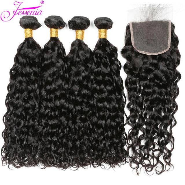 Onda de agua paquetes con cierre 3 paquetes de armadura de cabello humano con cierre de encaje Remy paquetes de cabello peruano con cierre 100 g/paquete