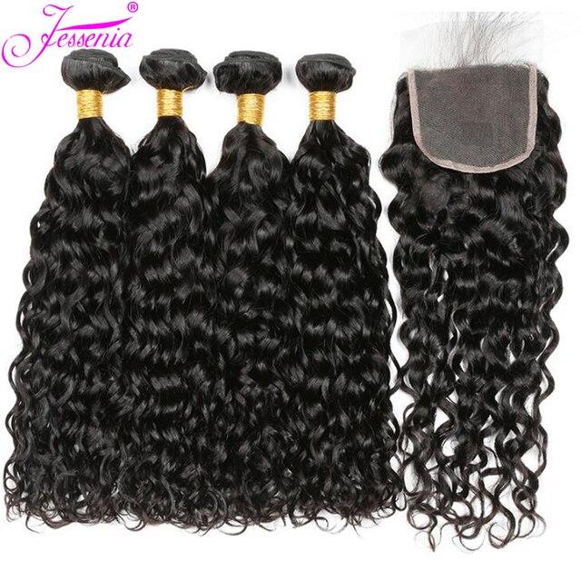 Paquetes de onda de agua con cierre 3 paquetes de cabello humano tejido con cierre de encaje Remy paquetes de cabello peruano con cierre 100 g/paquete