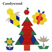 Candywood Children Wooden Geometric Puzzle Colorful Wooden Toys Montessori Wooden Toys 3D Jigsaw Puzzle Educational Toys
