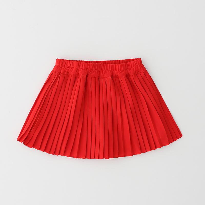 Girls Summer Skirts Kids Red All Match Skirt Baby Solid Pleated Skirt Children Cothes Princess Sweet Party Skirts