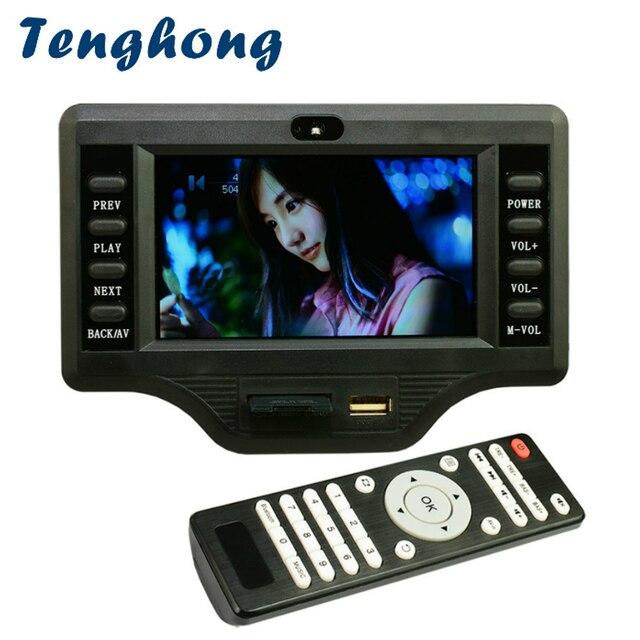 Tenghong LCD Da 4.3 Pollici MP3 Scheda di Decodifica DC12V 50W * 2 + 100W Amplificatore Bluetooth Bordo MP5 Audio ricevitore Decodering Modulo WMA/OGG