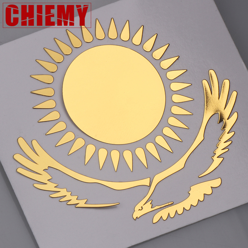 Car 3D Kazakhstan Sun Eagle Metal Golden Nickel Sticker Motorcycle Decal For Mobile Phone Laptop Sticker Automobile Decoration