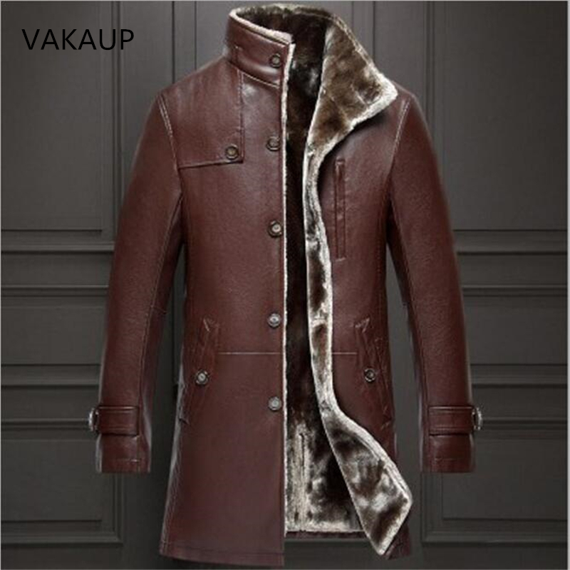 Men Snow Jacket parka real fur Mens In One Long Plush And Thick Overcoat In Winter Sheepskin Jacket Men Keep Warm 2018 Style