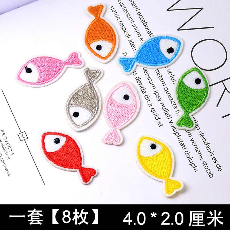 Cute Anime Kartun Anak-anak Besi Pada Patch untuk Pakaian Stiker Menjahit Bordir Patch Pakaian Bordiran Garis-garis Campuran Banyak