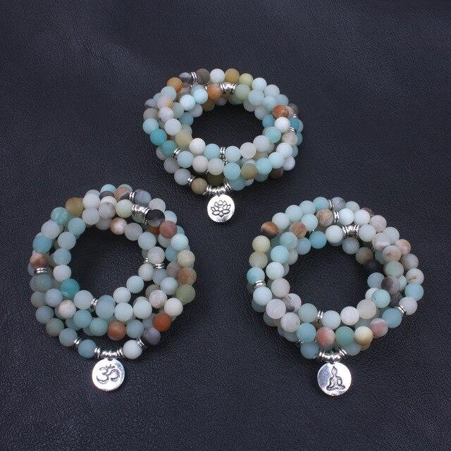 Bracelet Mala Amazonite givrée et mat