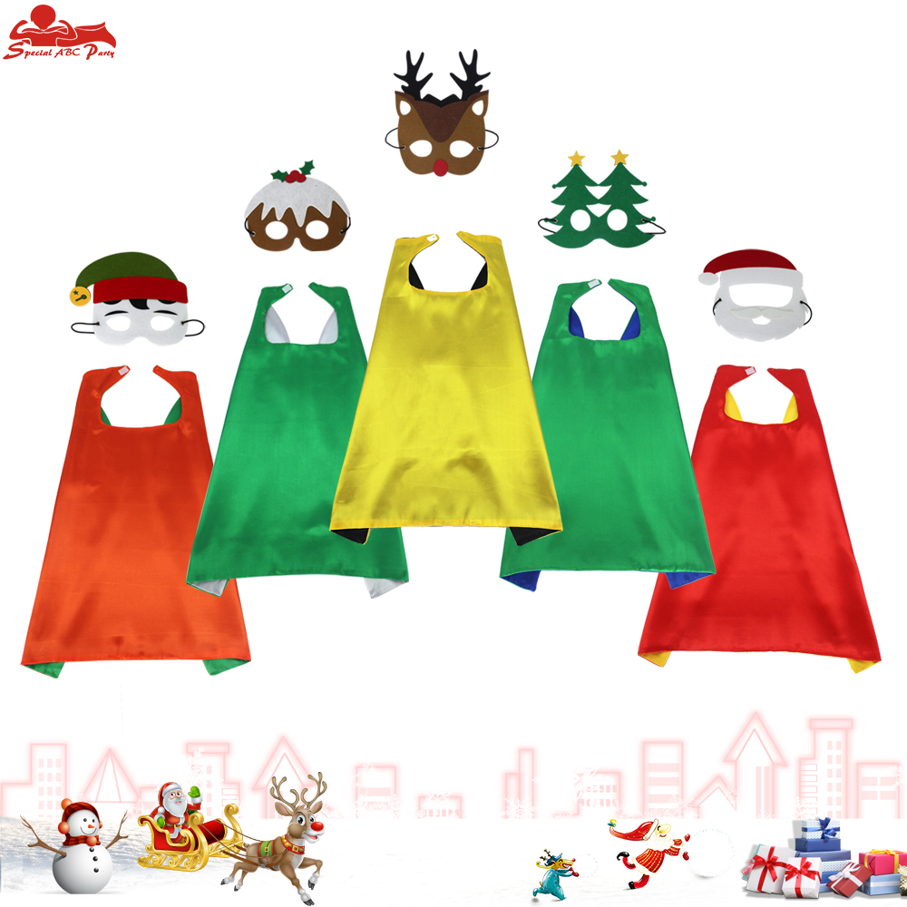 SPECIAL L 27*  Christmas Costumes Dress Girls Double Sided Cape Mask Gifts For Girls Cloak Carnival Costume Baby Girls