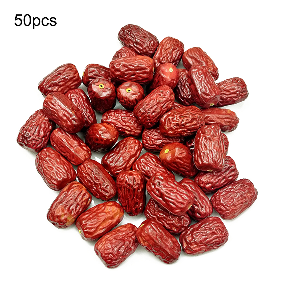 50pcs/set Fake Dried Giant Red Jujube Delicious Nutrition Fruit Rare Exotic Bonsai Potted Gift Plant Decoration Home & Garden