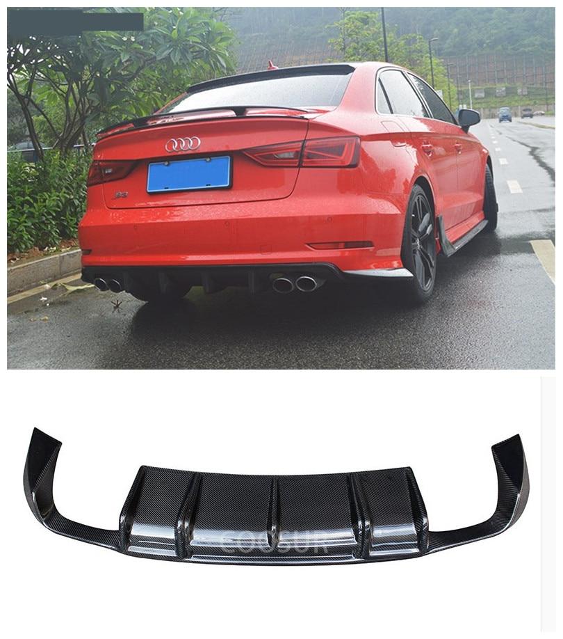For Audi A3 S3 RS3 2014.2015.2016.2017 Carbon Fiber Rear Lip Spoiler High Quality Car Bumper Diffuser Auto Accessories