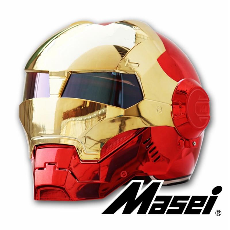 MASEI 610 chapeamento galvaniza Cromo Ouro Vermelho IRONMAN Homem De Ferro capacete meio capacete capacete da motocicleta abrir rosto capacete ABS motocross