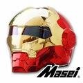 MASEI 610 cromado galvanoplastia oro rojo IRONMAN Iron Man casco motocicleta casco medio abierto casco ABS motocross