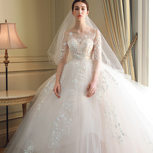 Mingli Tengda Round 3/4 Sleeve Wedding Dresses Ball Gown