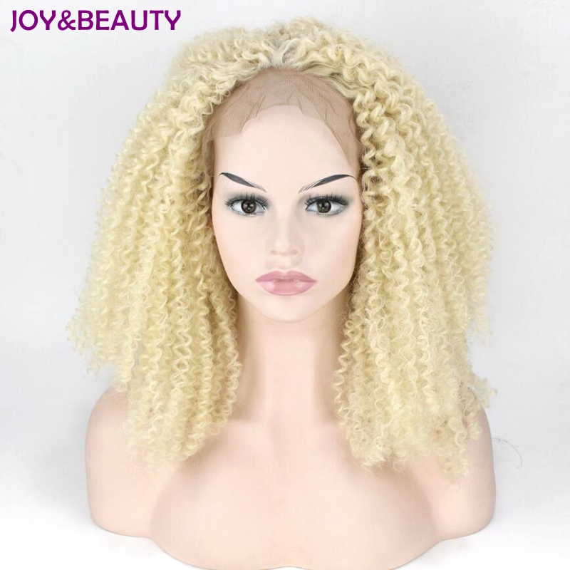 JOY&BEAUTY Blonde Afro Kinky Curly Synthetic Lace Front Wig Glueless Heat Resistant Fiber Natural Hairline For Black Women