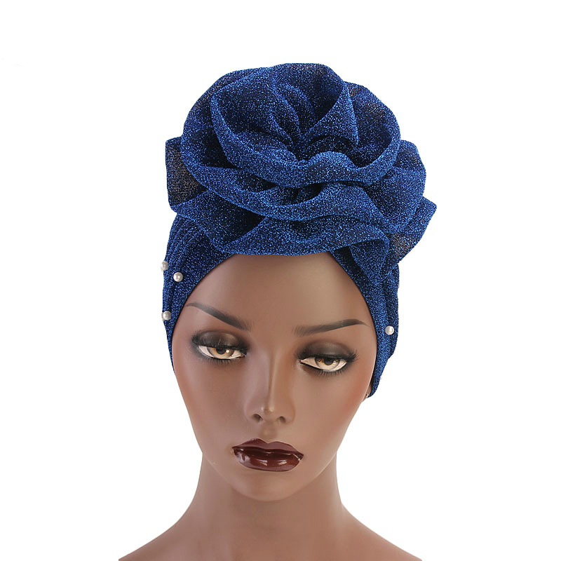 Active 2019 New Fashion Women Muslim Beaded Glitter Turban India Cap Big Flower Headband Wedding Party Hair Lose Head Wraps Accessories