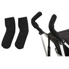 2pcs/ lot Baby Stroller Accessories Carriage Front Handle  Black Neoprene Magic Tape Bumper Bar Cover High Quality