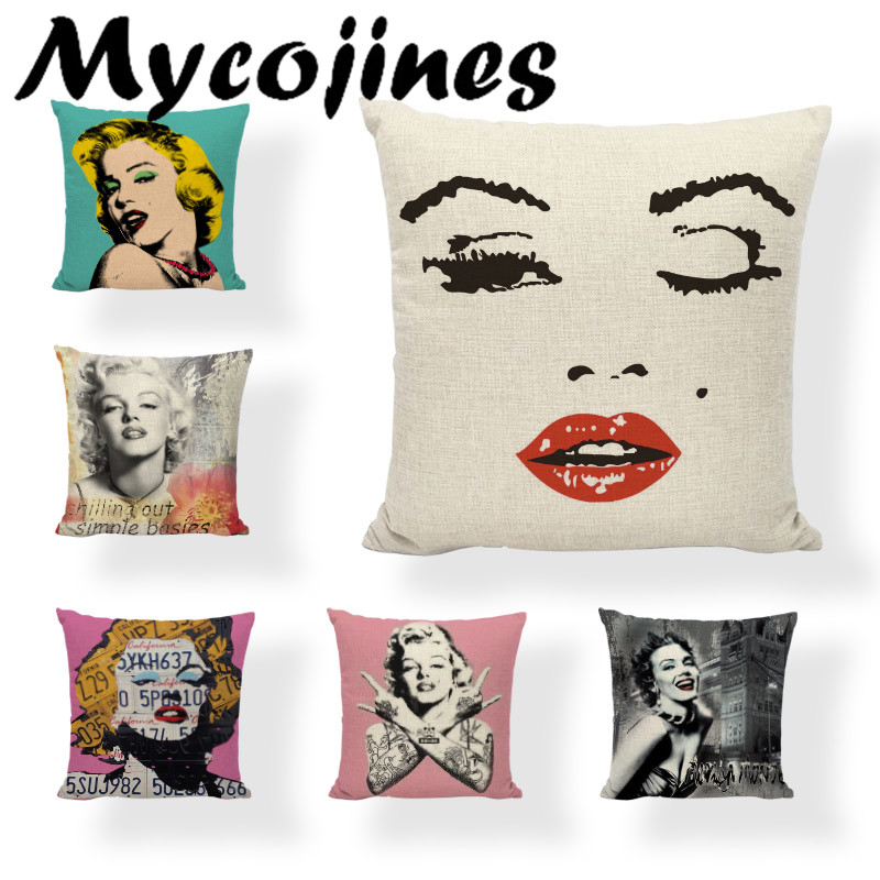 Charming Woman Marylin Monroe Famous Buildings Cushion Cover 17*17 In Postmark Throw Pillowcase Living Room Office Letter Decor