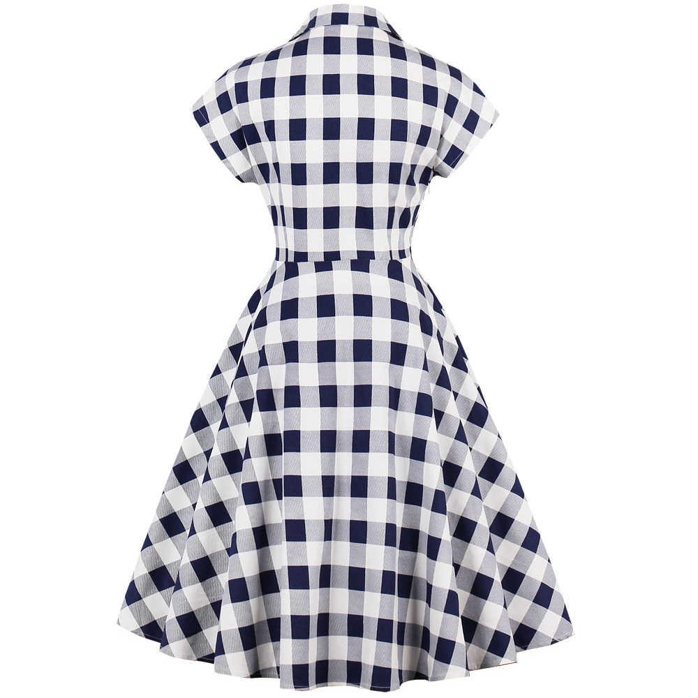 Joineles 60s Audrey Hepburn Vintage Dress Plus Size 4XL Plaid Print Women Party Dress Elegant Swing Rockabilly Feminino Vestidos