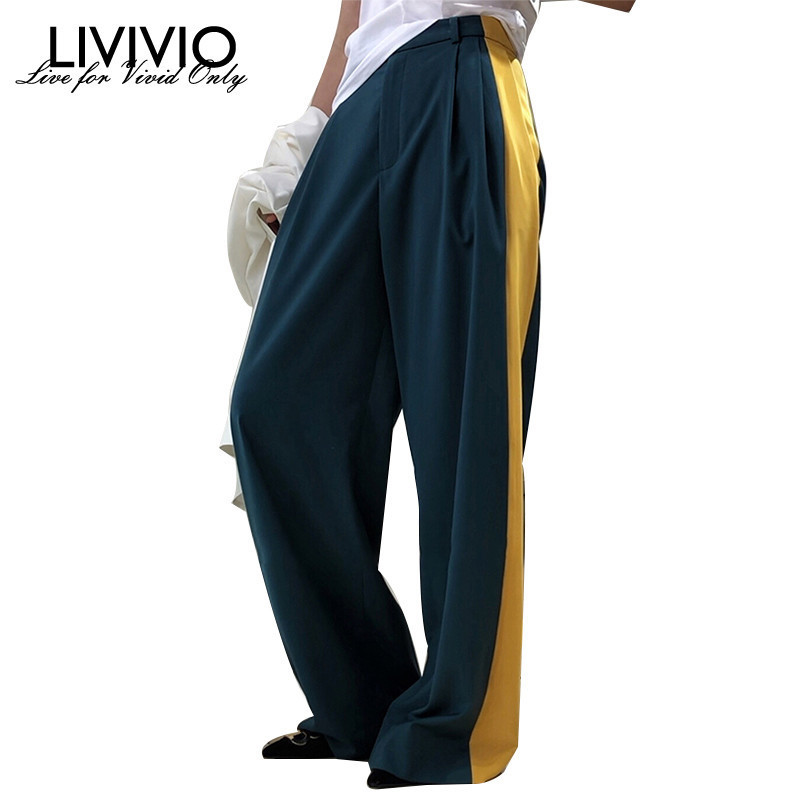 [LIVIVIO] Streetwear High Waist Palazzo Pants Wide Leg Pant Korean Trousers Women 2019 Summer Loose Clothes Fashion Clothing