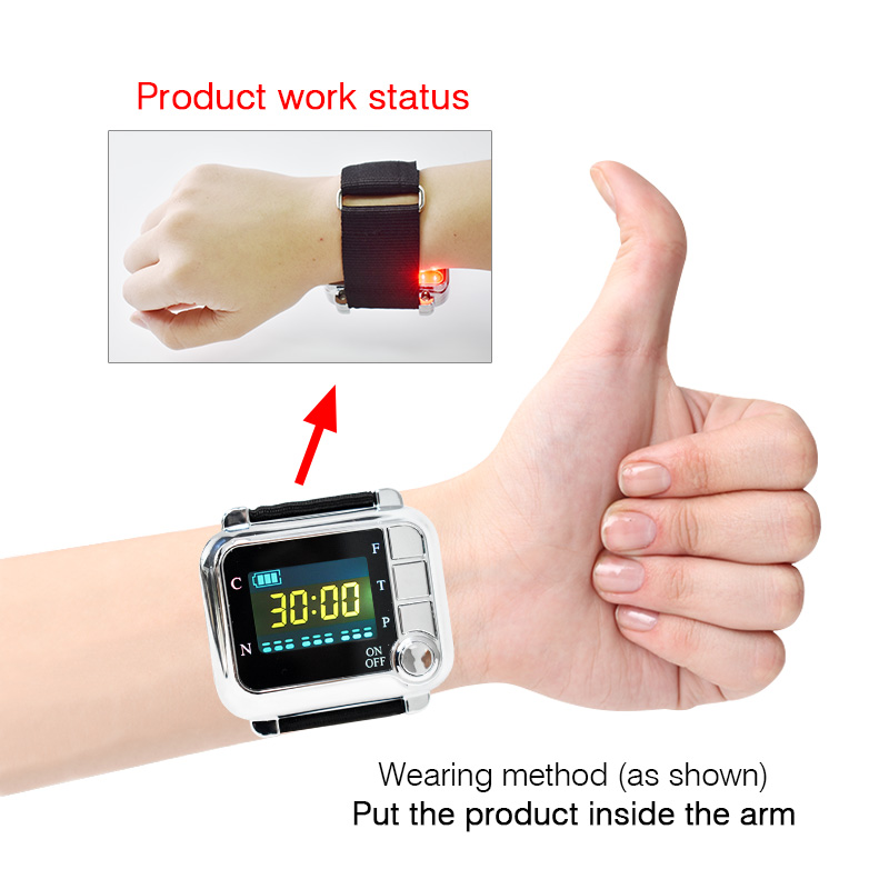 Laser Therapy Wrist Watch Medical Instrument Treat High Blood Pressure/Diabetes/Rhinitis/Cholesterol/Cerebral Thrombosis laser therapy home wrist type laser watch low frequency high blood pressure high blood sugar diabetes red light laser therapy