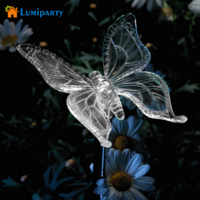 Lumiparty Solar Butterfly Pathway Lighting Garden Stake Lights Color  Changing Outdoor Decor Lawn Yard Path Decorative