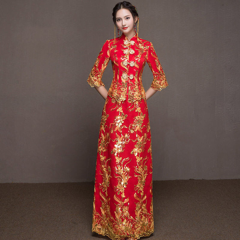 Female Marriage Suit Ancient Bride Wedding Dress Exquisite Embroidery Hanfu Clothing Vintage Cheongsam Oriental Noble Qipao