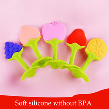 naissance Silicone baby teether fruit shape chew plastic newborn two-color stereo tooth gel molar stick independent packaging