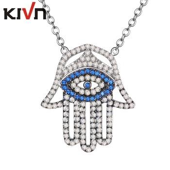 Turkish Blue Eye Hamsa Hand CZ Cubic Zirconia Womens Girls Bridal Wedding Pendant Necklaces Birthday Gifts 10pcs Lot Wholesale