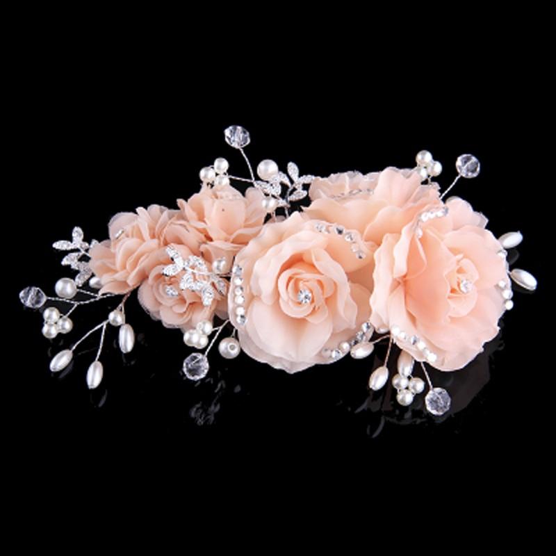 Pink Beige Blue Flower Clip mit exquisiten Hochzeit Braut Strass und - Modeschmuck - Foto 4